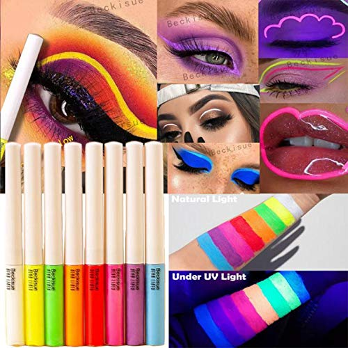 MAEPEOR Neon Liquid Eyeliner 8 Pack High Pigmented UV Glow Matte Eyeliner Waterproof & Smudgeproof UV Glow Body Face Paint Makeup for Daily Wear and Halloween Christmas (Neon, 8PCS)