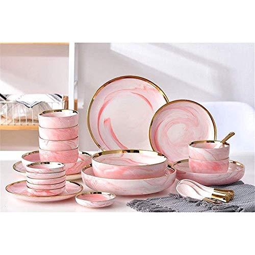 N/Z Equipo Diario Vajilla Juego de Cena Moderno Simple de mármol Phnom Penh Juego de Cubiertos de cerámica de Estilo nórdico Diseño Simple (Color: Rosa Tamaño: 7 Piezas)