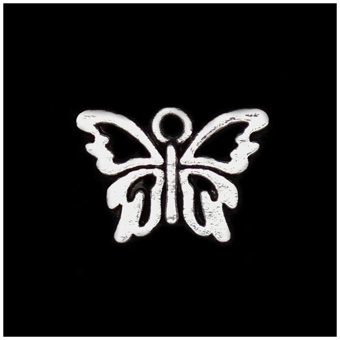 Pack of 80 Butterfly Charms Pendants Silver Craft Supplies for Jewelry Making Tibetan Accessories for Bracelets Necklace DIY