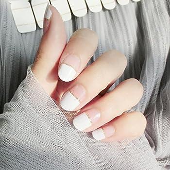 LIHI Color Lab 22PCS Adhesion Nail Art Transfer Decals Sticker French Series DIY Nail Polish Strips,Nail Wraps 100% Real Nail Polish ,French Straight