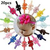 20 Stück Baby Mädchen Haar Bogen Haar Bands Elastische Stirnbänder mit 3.15' Haar Bogen für Kleinkind Neugeborene