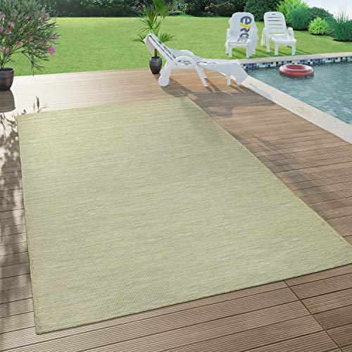 Paco Home In- & Outdoor-Teppich Für Wohnzimmer, Balkon, Terrasse, Flachgewebe In Grün, Grösse:140x200 cm