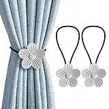 HANGOU Magnetische Vorhang Raffhalter 2 PCS Vorhanghalter Magnetische Blume Vintage Vorhanghalter Kunstdekoration für Wohnzimmer, Schlafzimmer, Büro