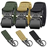 Ginwee 3-Pack Tactical Belt,Military Style Belt, Riggers Belts for Men, Heavy-Duty Quick-Release Aluminum Alloy Buckle with Extra MOLLE Hook