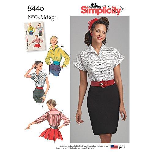Simplicity 8445Pattern 8445 Damen Blusen und Kummerbund, Papier, Weiß, U5 (Gr. 44-48)