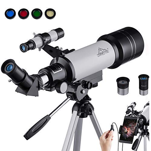 MAXLAPTER Astronomisches Teleskop Tragbares Refraktor fur Kinder Oder Anfänger 400/70mm HD Dual-Use Tragbar und Ausgestattet Mit Stativ, Smartphone Adapter