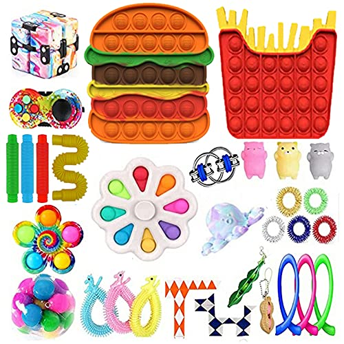 Ceomate 30pcs Fidget Packs Anti-Anxiety Tools, Pop-in-It Fidget Block Set Stress Relief Toys for Adults, Cheap Sensory Fidget Toy Pack with Marble Mesh Anxiety Tube Fidgetet Packs (E3)