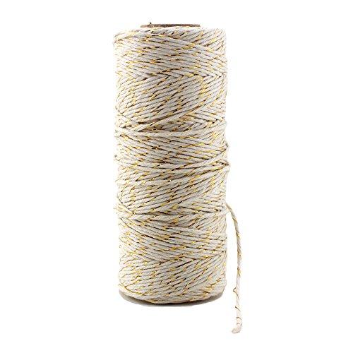 Bobine de ficelle de coton, 100 m par Ipalmay - Pour l'art, les travaux manuels et le jardinage, 3 brins, multicolore Taille unique Gold&White
