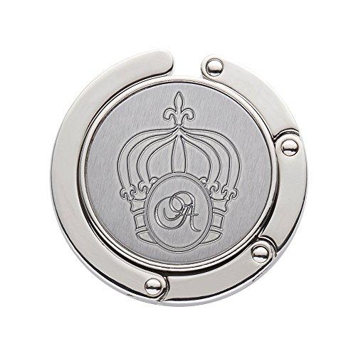 Gravado Handtaschenhalter aus Metall mit ausklappbarem Haken und Krone Gravur, Personalisiert mit Initiale, Damen Accessoire