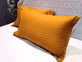 Trance Home Linen Cotton Pillow Covers/Pillow case (Mustard Yellow) -Pack of 2