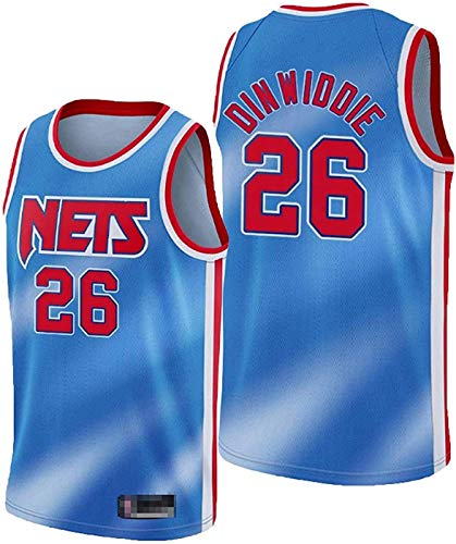 ZMIN Jerseys de la NBA de los Hombres Brooklyn Nets # 26 Dinwiddie Cool Tela Transpirable Tela Transpirable Resistente a la Camiseta de Baloncesto T-Shirt,Azul,XXL 185~190cm