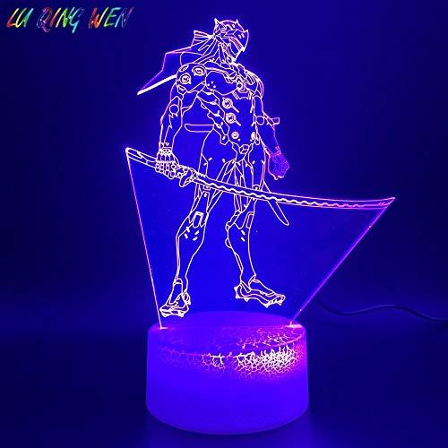 3D Illusion Lampe Led Nachtlicht Spiel Overwatch Shimada Genji Figur Home Luminaria Base Kid Geschenk Für Kinderzimmer Schlafende Lichter Kinder Weihnachtsgeschenke