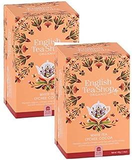 DEU English Tea Shop Weißer Tee mit Litschi und Kakao Sammlung Handverlesener Tees aus Sri Lanka - 2 x 20 Beutel 80 Gramm