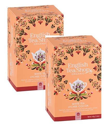 DEU English Tea Shop Weißer Tee mit Litschi und Kakao Sammlung Handverlesener Tees aus Sri Lanka - 2 x 20 Beutel (80 Gramm)