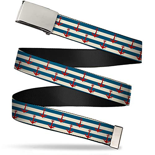 Buckle-Down Men's Web Belt Anchor, Multicolor, 1.25' Wide-Fits up to 42' Pant Size