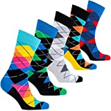 Socks n Socks-Men's 5-pair Luxury Cotton Argyle Cool Dress Socks Gift Box