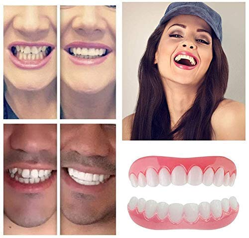 4 pair Braces Snap On Instant Perfect Smile Veneers Dentures - Denture For Top and Bottom Teeth to Make White Tooth Beautiful Neat