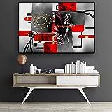 KWzEQ Negro Rojo Abstracto Pueblo Africano Pinturas geométricas sobre Lienzo de póster salón Mural,Pintura sin Marco,75x112cm