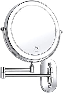 BMJ&C Mirror LED Beauty Mirror 1X/3X/4X/5X Magnification Double Side, Folding Vanity Lamp Retractable 360 Rotating Function Shaving Mirror, Powered by 4 X AAA Batteries (not Included)