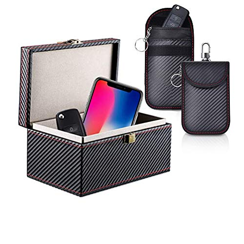 Keyless Go Schutz Autoschlüssel Box, Auto Key Diebstahlschutz Faraday Box, RFID Signal Blocking Case für Car Keys+2 Pack Faraday Tasche, Signal Blocker Tasche