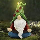 Comie Zwerg Buddha, Statue Harz mit Solar LED Licht Garten Statue Dekoration Gartenfigur Reifen Lichtern spielt Gnom Figuren Ornament für Rasen Veranda Terrasse für Geschenke