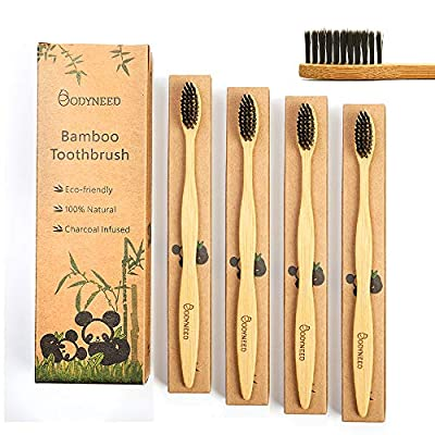 BodyNeed Bamboo Charcoal Toothbrush Medium - Soft Bristle, Biodegradable, Organic Vegan, Eco Travel Tooth Brush for Adult, Wood Toothbrush, Pack of 4