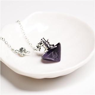 Natural stone pendant Natural Reiki Healing Pendulum Natural Stone Pendant Amulet Crystal Meditation Hexagonal Conic Pendu...