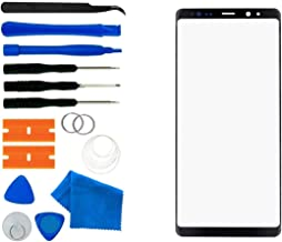 Original Galaxy Note 8 Black Replacement Front Outer Lens Glass Screen Tool Kit/Pre-Cut Sticker/Tweezers/Suction Cup/Wire/Cleaning Cloth + for Note 8 N950A N950F 6.3 inch(Black)