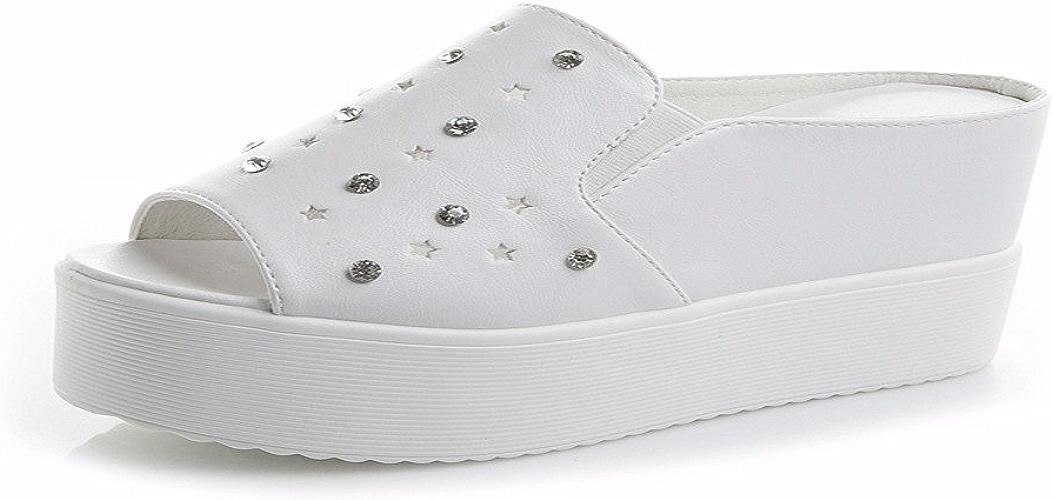 HBDLH Chaussures pour Femmes L'été Est Gentil évidé Le Mot en Forme De Bouche De Poisson Est Augmenté Pantoufles Muffin Fond Diamond Chaussures sont Ajoutés.