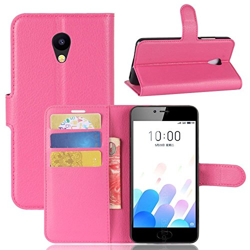 Tasche für MEIZU A5 / MEIZU M5C Hülle, Ycloud PU Kunstleder Ledertasche Flip Cover Wallet Case Handyhülle mit Stand Function Credit Card Slots Bookstyle Purse Design Rose Red