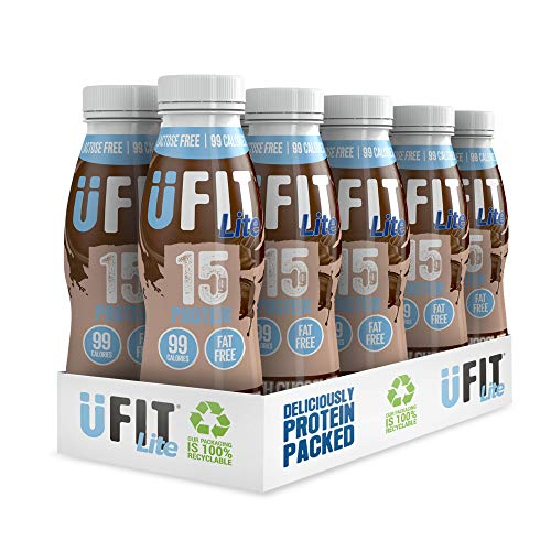Ufit Lite 15g Protein Shake, Fat Free, No Added Sugar, Lactose Free, Smooth Chocolate Flavour Ready to Drink, Pack of 10 x 310 ml