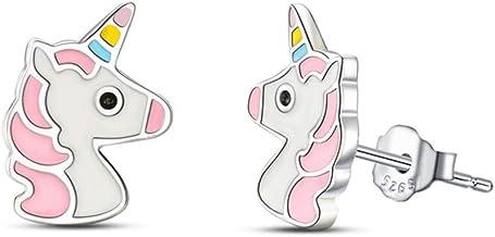 Bisuteria Pendientes unicornio plata de ley 925, Pequeños Baratos aretes Joyero Regalos de unicornios para infantiles niñas, y mujer Unicorn earrings Niños Joyería Juguete. rosada arete