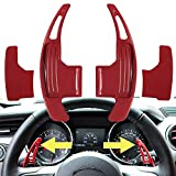 2PCS Aluminum Steering Wheel Dull Polish Shift Paddle Shifter Extension for NEW Ford Mustang 2015-2021 (RED)