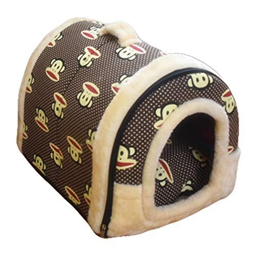 Beskie huisdier tent grot voor kleine middelgrote grote honden katten huisdieren huis puppy uitneembare kussen slaapzak winter warme zachte hond bed gezellig grot cave knuffel burrow huis gat Igloo Nest voor kat, S/13.7''*11.8''*11'', Aap
