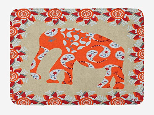 Asian Bath Mat, Elephant in Paisley Floral Drawing Ethnic Eastern Style Traditional Ornament, Plush Bathroom Decor Mat with Non Slip Backing, Orange Red White 40x60 cm