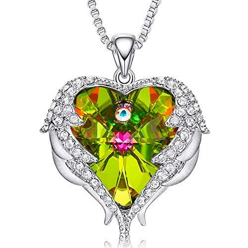 CDE Herz Halskette Kette für Damen Platin Kette Sterling 925 Frauen Schmuck Besetzt mit Swarovski Steinen mit Geschenkbox Mutterstag