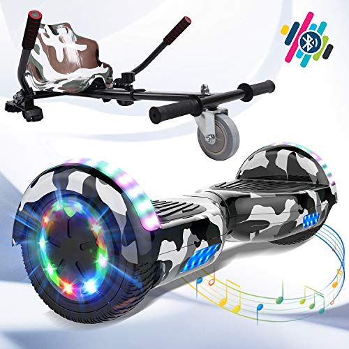 Markboard Elektro Scooter 6,5zoll Hover Scooter Board Bluetooth Scooter Hoverboard für Kinder Self Elektro Balance Scooter mit Sitz Hoverkart Sitzscooter
