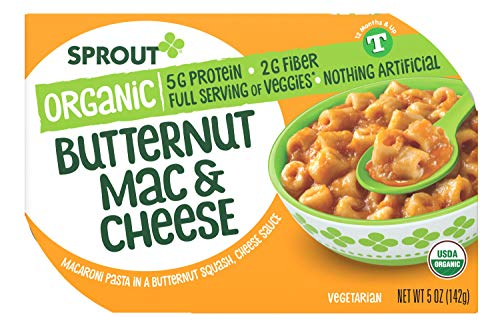 Sprout Organic Baby Food, Toddler Meals, Macaroni Pasta with Butternut Squash Cheese Sauce, 5 Oz Bowl (8 Count)