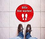 Fußbodenaufkleber »Bitte Hier warten!« rund, selbstklebend für Glatte Fußböden, Ø 36 cm