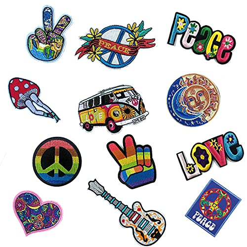 Joynaamn 12 PCS Iron on Patches for Clothing, Embroidered Decoractive Applique&Patches Vintage for Jackets Jeans, Sew on Fabric Decals for Backpack Shirts, Hippie and Peace Sign