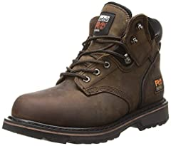 STAY ON YOUR FEET: Our Pit Boss is everything a steel toe boot should be: Safe, tough & comfortable. These leather work boots meet ANSI safety standards and feature slip-, oil- and abrasion resistant outsoles for traction & padded top collars for com...