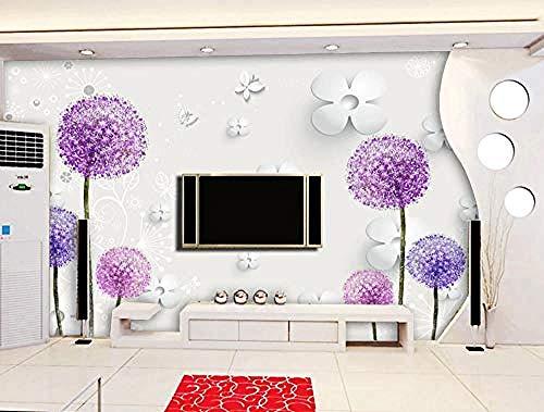 Tapete 3D Fototapeten Lila Blume Löwenzahn Weiße Blumen Wohnzimmer Schlafzimmer TV Hintergrund Wanddekoration Bild Poster Foto-200×140cm(BxH)
