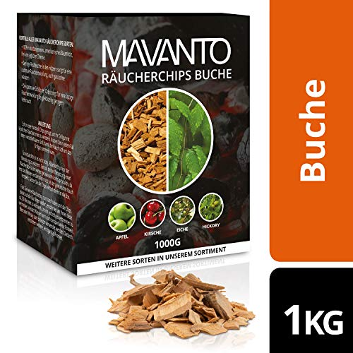 MAVANTO® professional smoking chips for the perfect smoke aroma - smoking-intensive wood chips from the USA in 5 different varieties (1kg Beech)