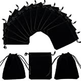 PH PandaHall 50 Pack Velvet Jewelry Pouches Bags 3.9x 4.7inch Black Velvet Cloth Jewelry Pouches Drawstring Bags for Jewelry Bracelets and Watches Storage