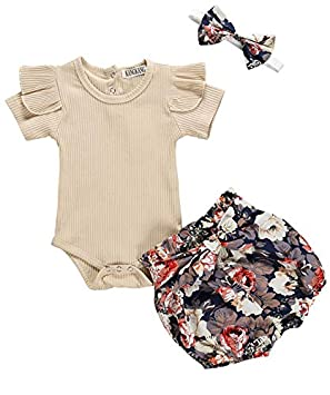 Tronet Baby onesie Toddler Newborn Infant Baby Girl Floral Cotton Romper Hair Band Bodysuit Clothes Sets