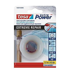 tesa TE56064-00006-00 Cinta de reparación autosoldante Extreme Repair 2,5m x 19mm transparente, Standard