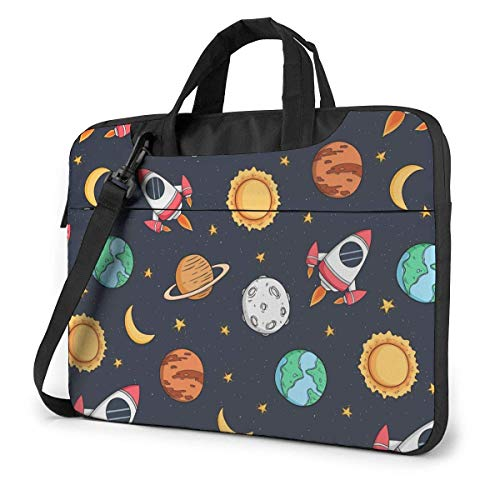 Hdadwy Adults Student Laptop Bag with 2 Pocket Protective Notebook Computer Protective Cover Anti-Collision Anti-Scratch Handbag for School College Colored Doodle Style Space Rocket Planet Stars 14inc