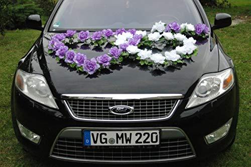 DOPPEL HERZ Auto Schmuck Braut Paar Rose Deko Dekoration Autoschmuck Hochzeit Car Auto Wedding Deko Ratan (Lila / Reinweiß)