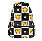 Outdoor Travel Tiger Star Black White Chess Board Backpack Bag Large Capacity For Men and Women