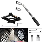 DICN Universal Extendable Lug Wrench (17/19/21/23MM) + 2 Ton Scissor Jack Hand Screw Spare Tire Repair Tool Kit for Cars Vans Trucks Trailers